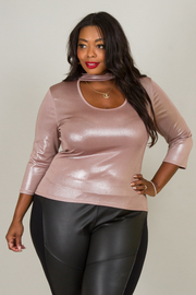 Plus Size ROUND MOCK NECK 3/4 SLEEVE FITTED SHINY TOP