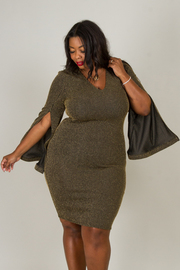 Plus Size V-NECK GOLD LUREX SLEEVE SLIT FITTED DRESS