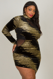 Plus Size MOCK NECK MESH AND GOLD SEQ FOIL COMBO VELVET FITTED DRESS