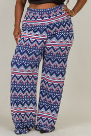 Plus Size WIDE WAIST PRINTED PANTS
