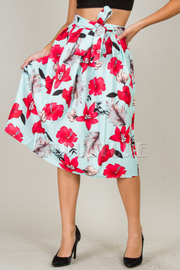 Floral Tie At Waist Knee Skirt