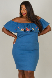 Plus Size Off The Shoulder Ruffle Dress