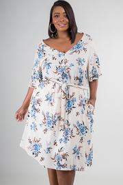 Plus Size V-Neck Tie Up At Waist And Pocket At Side Dress