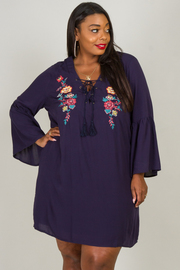 Plus Size Floral Detail Crisscross V-Neck Dress