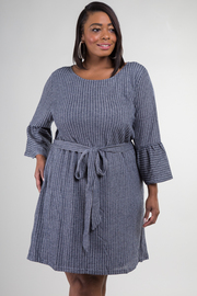 Plus Size Long Flounce Sleeve Stripe Dress With Tie Up At Waist