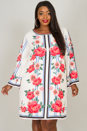 Plus Size Crew Neck Long Bell Sleeve Floral Dress