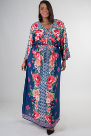 Plus Size Long Floral Print Dress