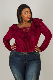Plus Size Corduroy Ruffled Long Sleeve Bodysuit
