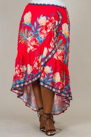 Plus Size Overlap Print Long Skirt