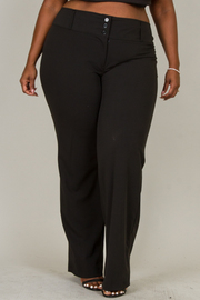 Plus Size Three Button Wide Leg Pants