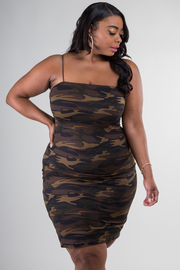 Plus Size Spaghetti Strap Camouflage Dress