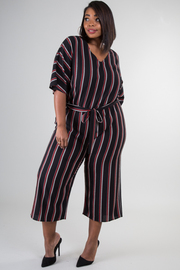 Plus Size Short Sleeve Jumpsuit With Tie Up At Waist