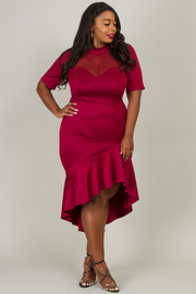 Plus Size Short Sleeve Asymmetrical Dress With Mesh Neck Line