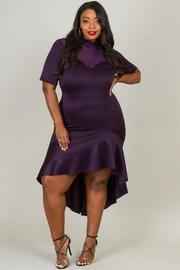 Plus Size Short Sleeve Asymmetrical Dress With Mesh Neck Line