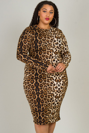 Plus Size High Neck Long Sleeve Fitted Dress
