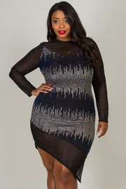 ROUND NECK LONG SLEEVE SEQUIN UNBALANCE FITTED DRESS