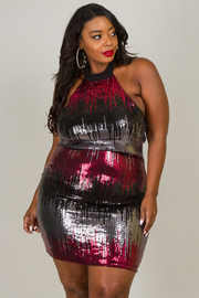 Plus Size Halter Mini Dress With Open Back