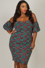 Plus Size Off The Shoulder Short Sleeve Sweetheart Dress