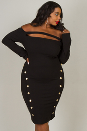 Plus Size Off The Shoulder Long Sleeve Dress With Button Accent