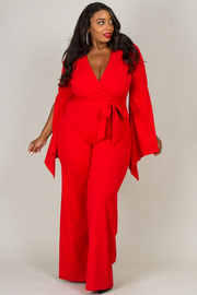 Plus Size Deep V-Neck Long Slit Bell Sleeve Tie Up At Waist Jumpsuit
