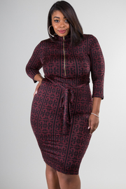Plus Size Long Sleeve Zipper And Tie Up At Waist Dress
