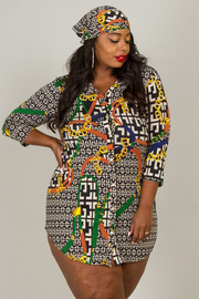 Plus Size Two Piece Set Of T-Shirt Dress And Matching Head Band