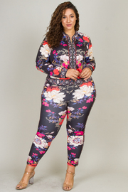 Plus Size Two Piece Set Of Floral Zip-Up Jacket and Fitted Pant