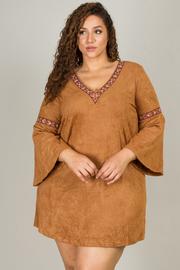 Plus Size Suede V-Neck Mini Dress