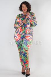 Plus Size Floral Print Zip Jacket And Pants 2-Piece Set