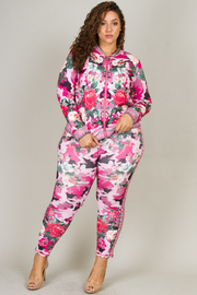 Plus Size Two Piece Floral Print Set with A Zipper Lightweight Jacket And Skinny Fit Pant