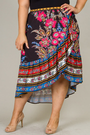Plus Size Overlap Floral Print Long Skirt