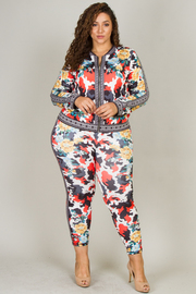 Plus Size Floral Print Jacket and Legging Set