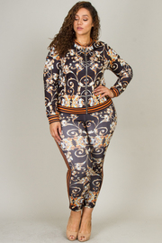 Plus Size Floral Print Zip Jacket And Pants 2-Piece Set