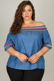 Plus Size Off The Shoulder Short Sleeve Top