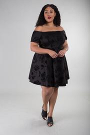 Plus Size Floral Print Off The Shoulder Short Sleeve Dress