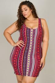 Plus Size Multi-tribal tight fitting dress