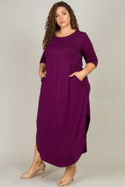 Plus Size 3/4 Sleeve Maxi Dress Side Slits Pockets