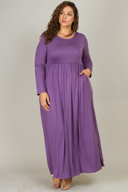 Plus Size Long Sleeve Round Neck Maxi Dress
