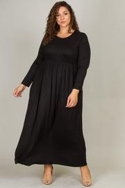 Plus Size Long Sleeve Round Neck Maxi Dress