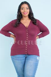 Plus Size Snap Button Sweater Cardigan