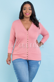 Plus Size Snap Button Sweater Cardigan
