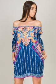 Off Shoulder Print Long Sleeve Mini Dress