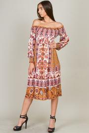 Long Sleeve Ruched Off Shoulder Long Floral Dress