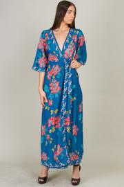 Deep V-Neck 3/4 Sleeve Floral Dress