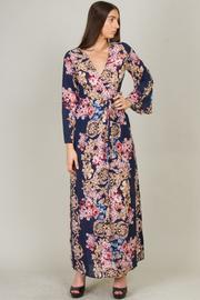 Long Sleeve Deep V-Neck Floral Wrap Dress