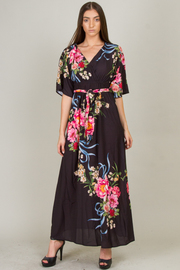 Long Floral Dress With Tie-Up At Waist