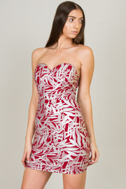 Strapless Sweetheart Leaf Print