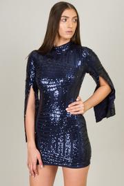High Neck Line Long Slit Sleeve Mine Sequin Dress