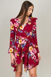 Overlap Floral Long Sleeve Ruffled Dress