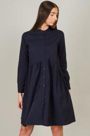 Button Down High Neck Long Sleeve Dress